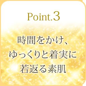 Point3:時間をかけ、ゆっくりと着実に若返る素肌